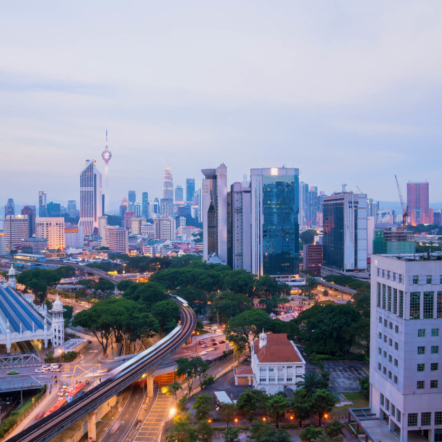 """Aerial view of beautiful sunset blue hour at Kuala Lumpur city"" stock image"