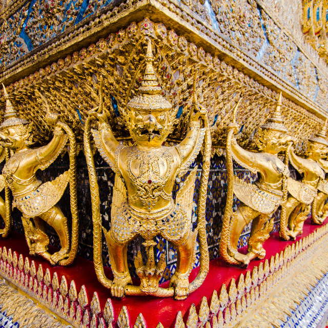 """Frieze of Garudas on Wat Phra Kaew"" stock image"