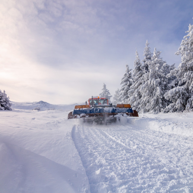 """Ratrak, grooming machine, special snow vehicle"" stock image"