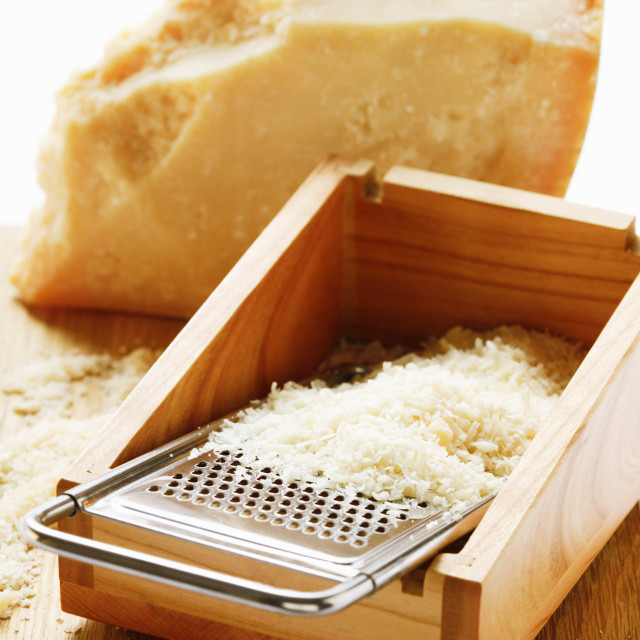 """""""Parmesan, partly grated"""" stock image"""