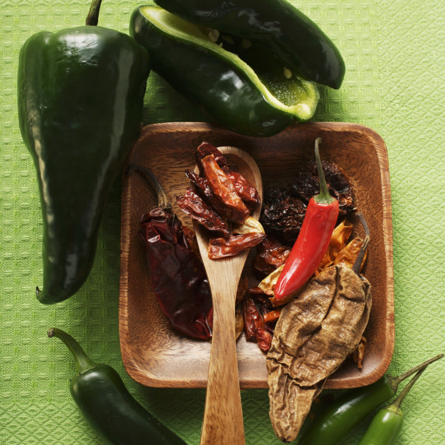 """Various dried and fresh chili peppers"" stock image"