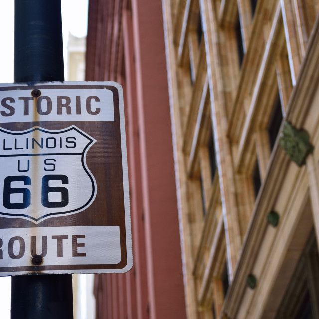 """Historic Illinois Route 66 brown sign"" stock image"