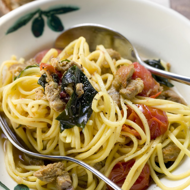 """""""Linguine with veal and cherry tomatoes"""" stock image"""