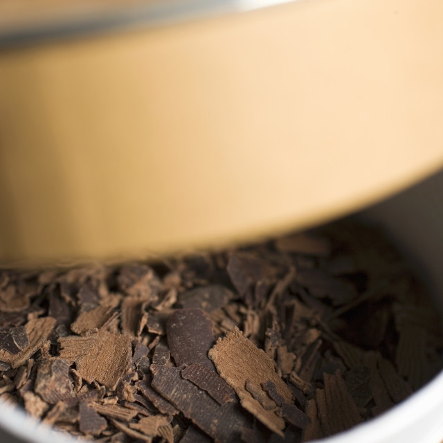 """Chocolate shavings in a box"" stock image"