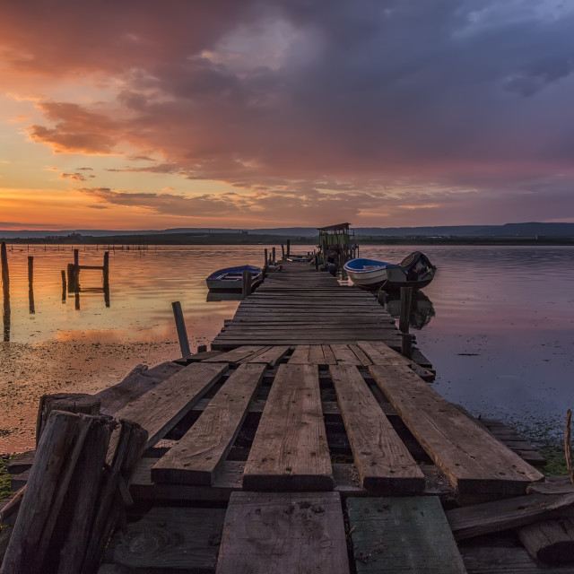 """""""wooden pier and boats"""" stock image"""