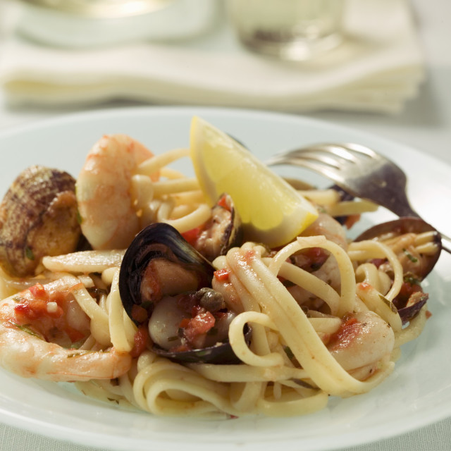 """""""Linguine with seafood"""" stock image"""