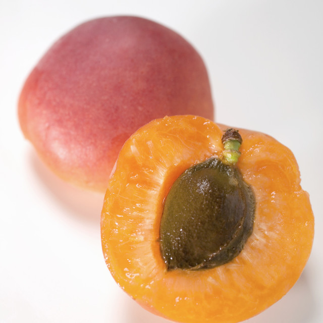 """""""Whole and half apricot"""" stock image"""
