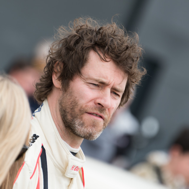 """""""Take That's Howard Donald prepares for the 2017 Silverstone Classic celebrity race"""" stock image"""