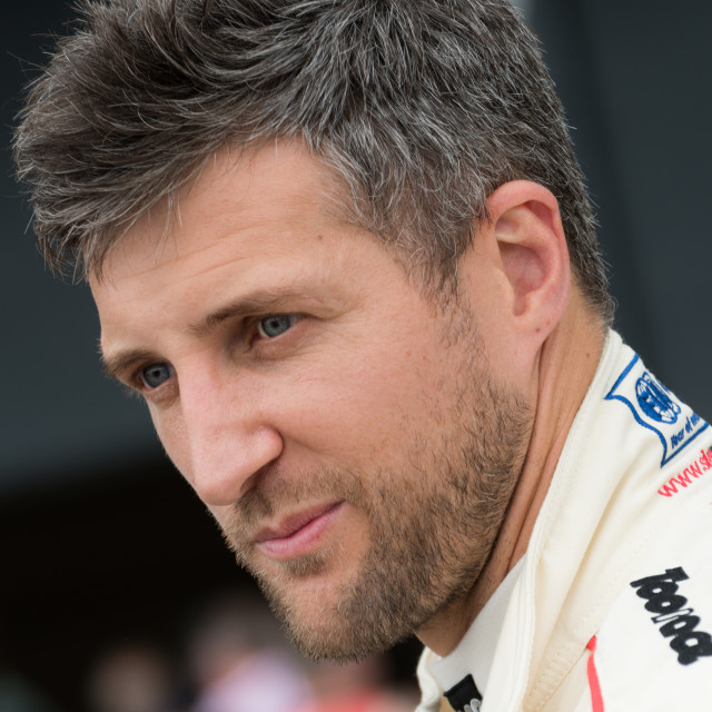 """""""Carl Froch before the Austin A35 race at the Silverstone Classic 2017"""" stock image"""
