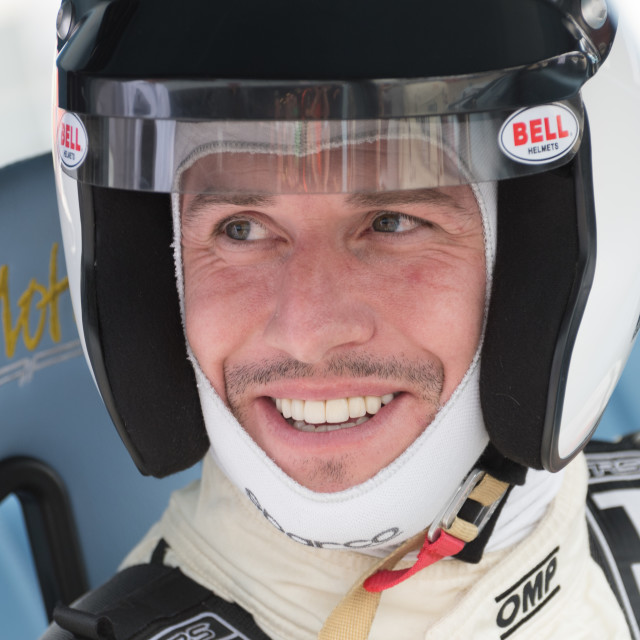 """""""Ant Anstead all smiles before the 2017 Celebrity Race at the Silverstone Classic"""" stock image"""