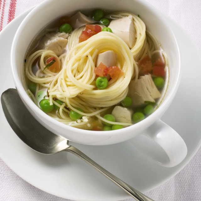 """""""Noodle soup with chicken and vegetables"""" stock image"""