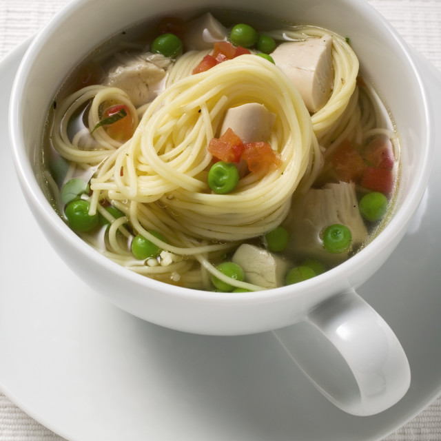 """Noodle soup with chicken and vegetables"" stock image"