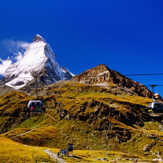 """Matterhorn (Swiss Alps); Cable Car Gondolas in the Foreground"" stock image"