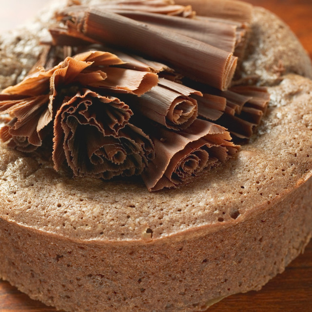 """Chocolate cake decorated with chocolate fans"" stock image"