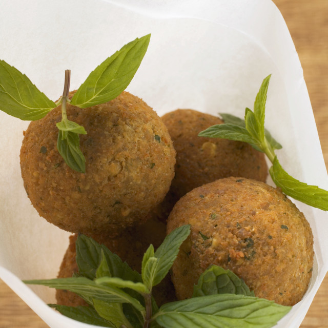 """Falafel (chick-pea balls) with fresh mint"" stock image"