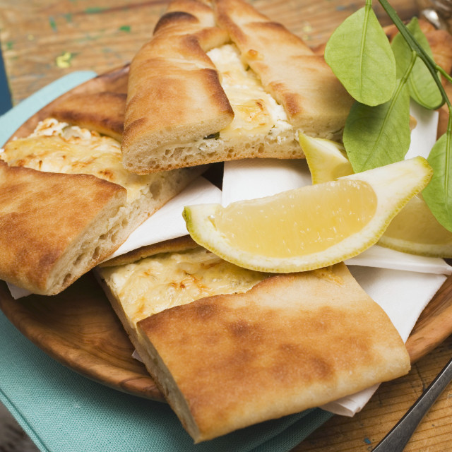 """""""Pide (Turkish flatbread) with sheep's cheese filling"""" stock image"""