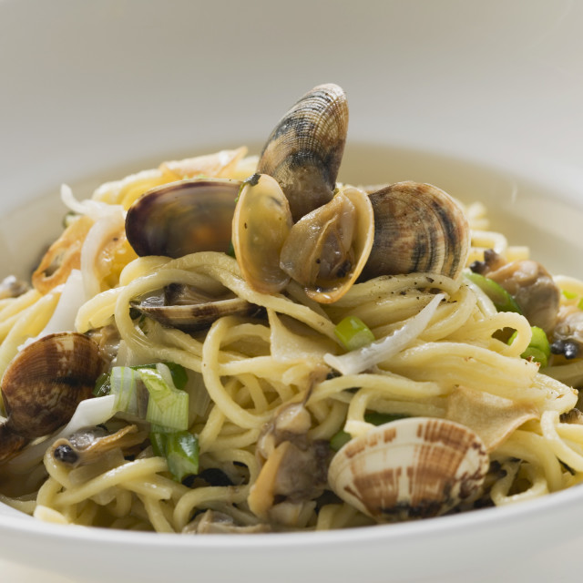 """""""Linguine with clams"""" stock image"""