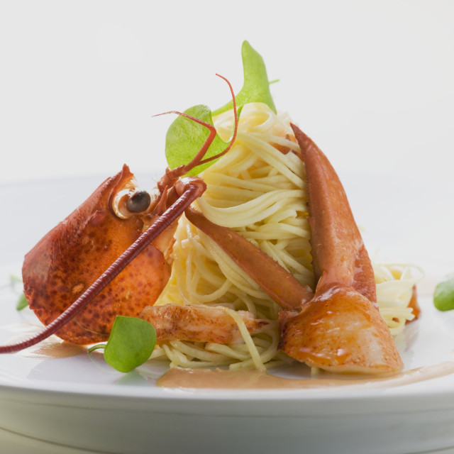 """""""Linguine with lobster"""" stock image"""