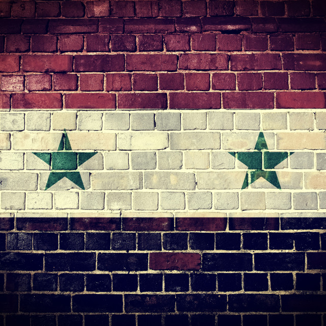 """Grunge Syria flag on a brick wall"" stock image"