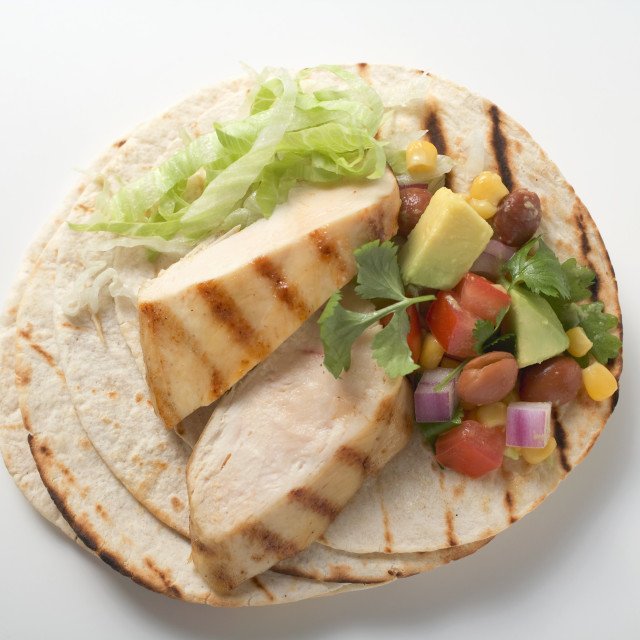 """Fajita with chicken breast and salsa (overhead view)"" stock image"