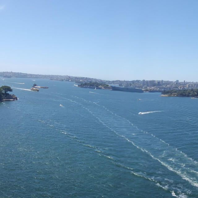 """Panaromic View Of Sydney Opera House from Sydney Harbour Bridge"" stock image"