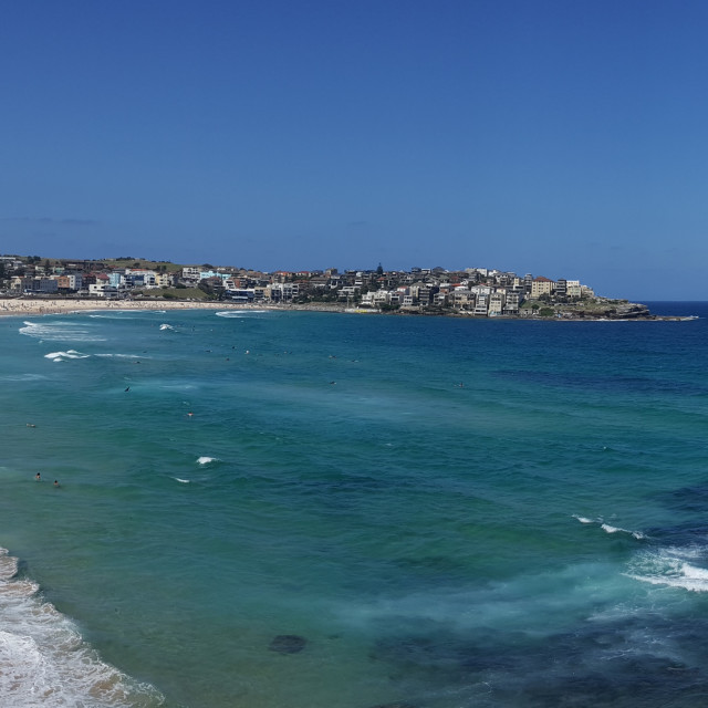 """Sights and Sounds of Sydney - Panaromic View of Bondi Beach"" stock image"