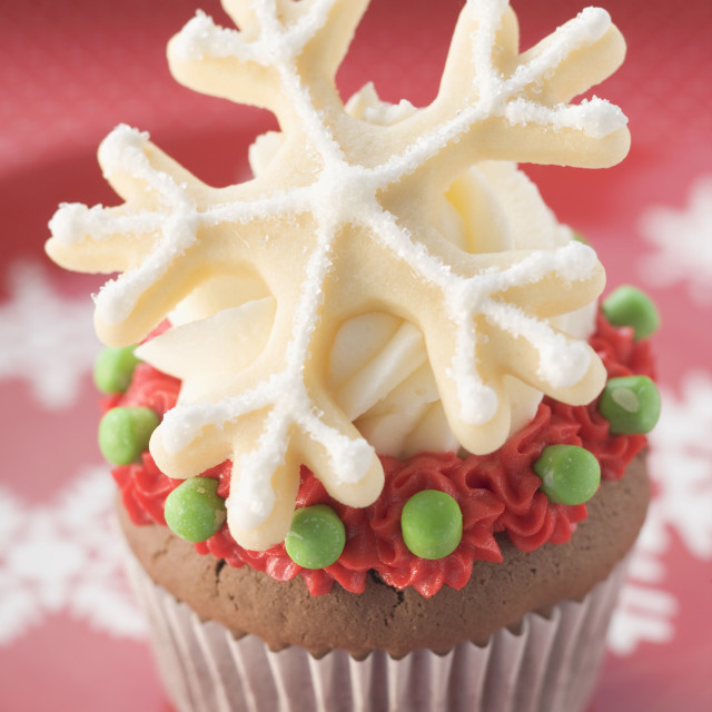 """Chocolate cupcake for Christmas"" stock image"