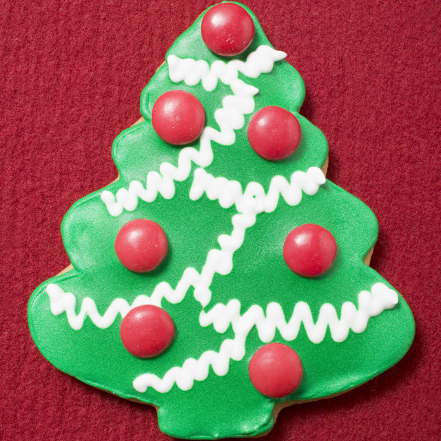 """Christmas biscuit (Christmas tree with chocolate beans)"" stock image"