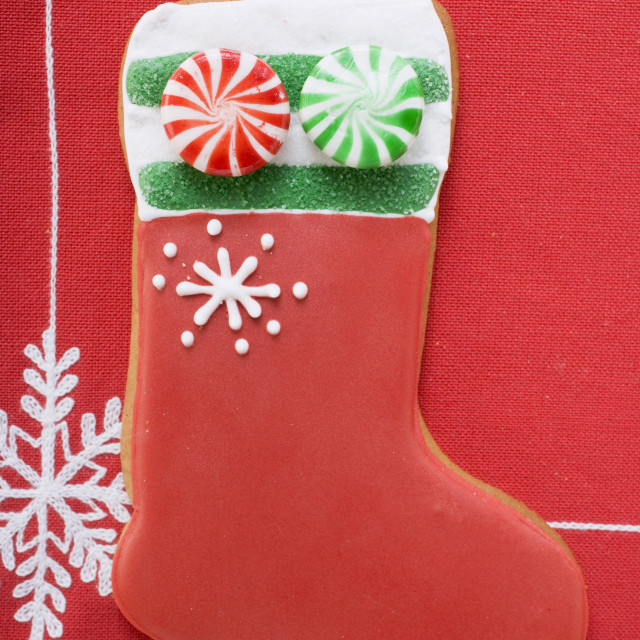 """""""Boot-shaped biscuit decorated with peppermints"""" stock image"""