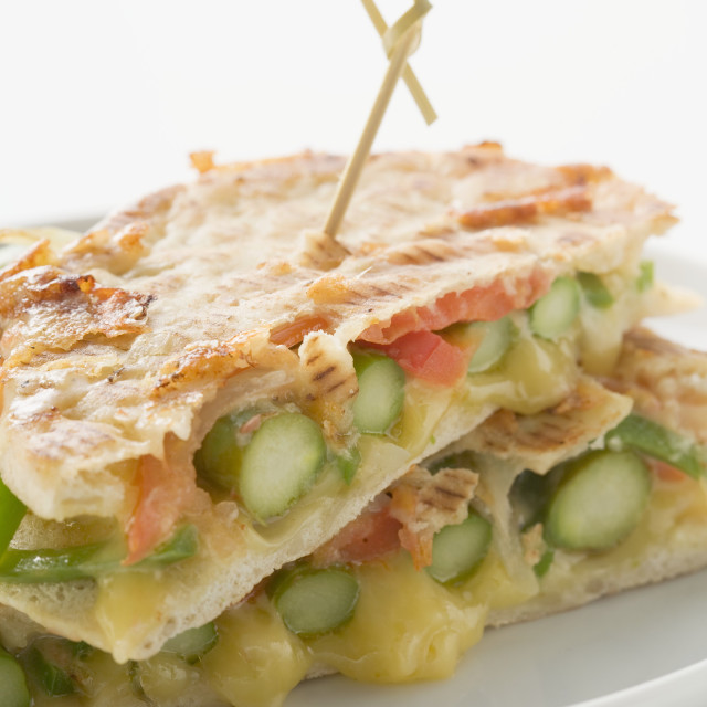 """""""Grilled pita bread filled with green asparagus"""" stock image"""
