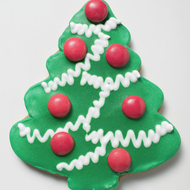 """Christmas tree biscuit decorated with chocolate beans"" stock image"