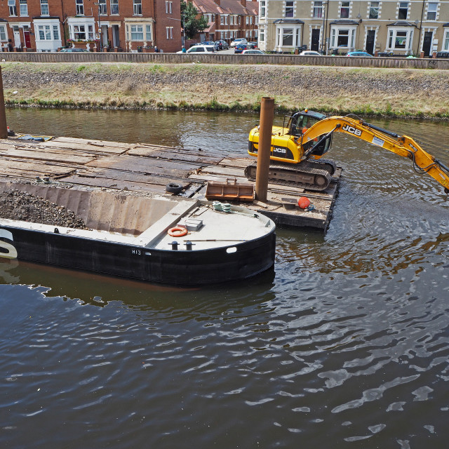 """Dredging the River Taff"" stock image"