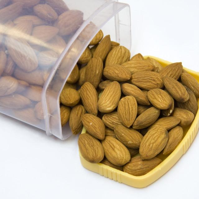 """""""Boxful of Almonds"""" stock image"""