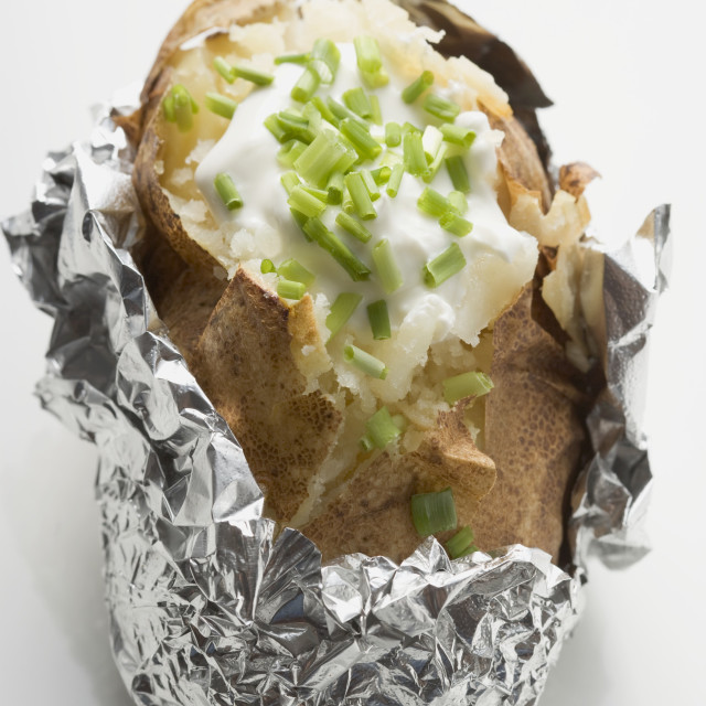 """""""Baked potato with quark and chives"""" stock image"""