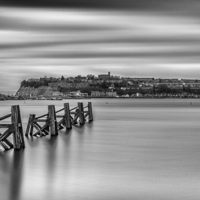 """Four Minutes At Cardiff Bay Mono"" stock image"