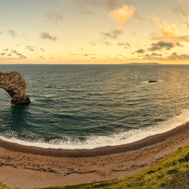 """Durdle Door panorama"" stock image"