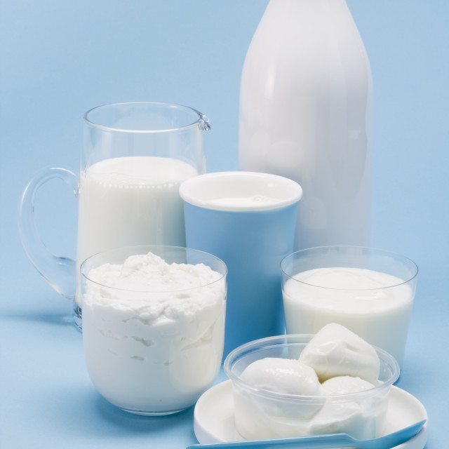 """""""Various dairy products and mozzarella"""" stock image"""