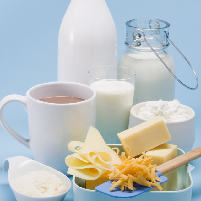 """""""Various dairy products and cheese"""" stock image"""