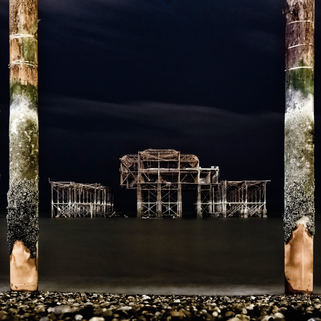"""Brighton West Pier by night"" stock image"