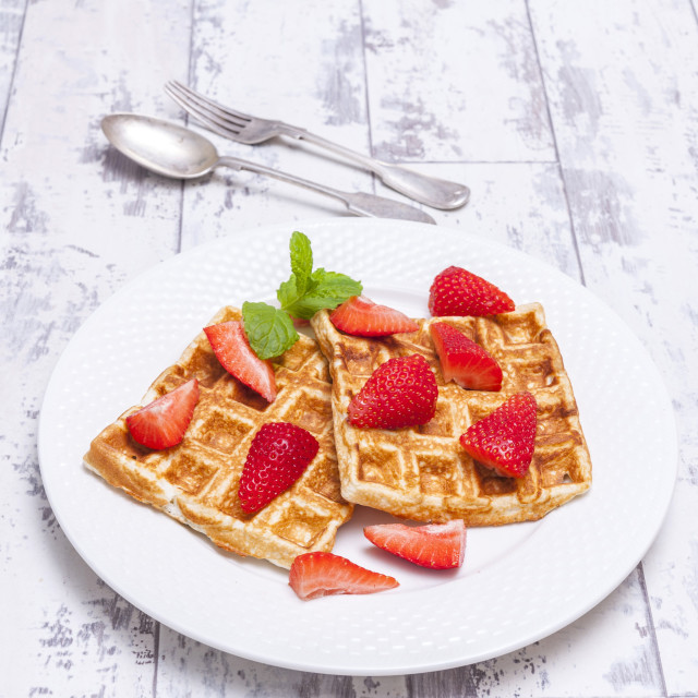 """""""No carb waffles with strawberries"""" stock image"""