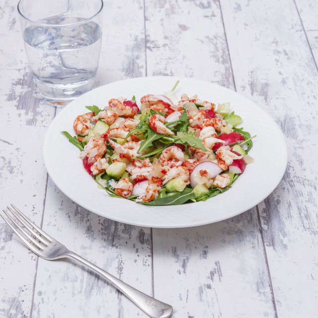 """Rocket salad with crayfish, radishes and sweet chilli"" stock image"