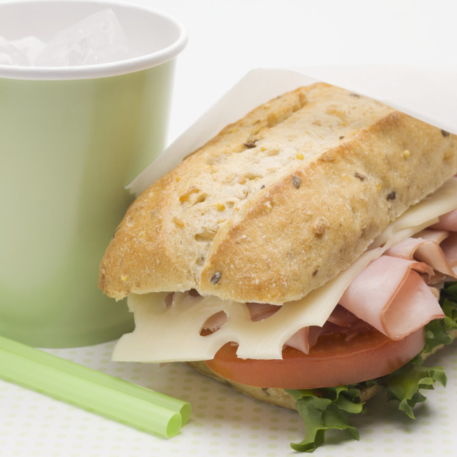"""Ham, cheese, lettuce and tomato sandwich, drink"" stock image"