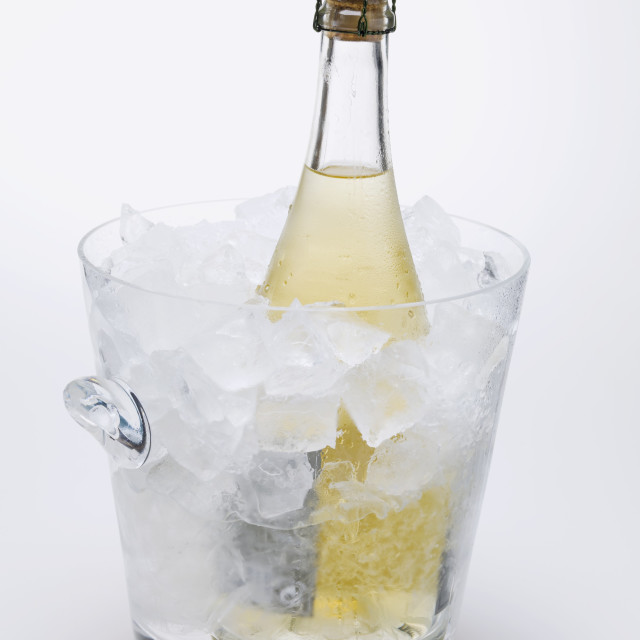 """Bottle of sparkling wine in ice bucket"" stock image"
