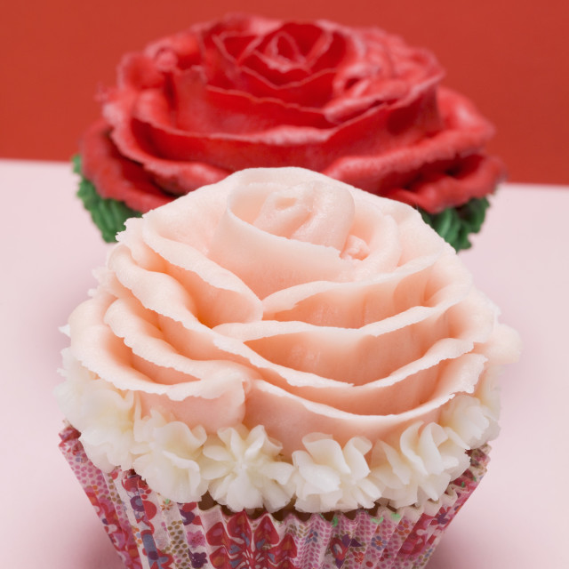 """Cupcakes with red and pink roses"" stock image"