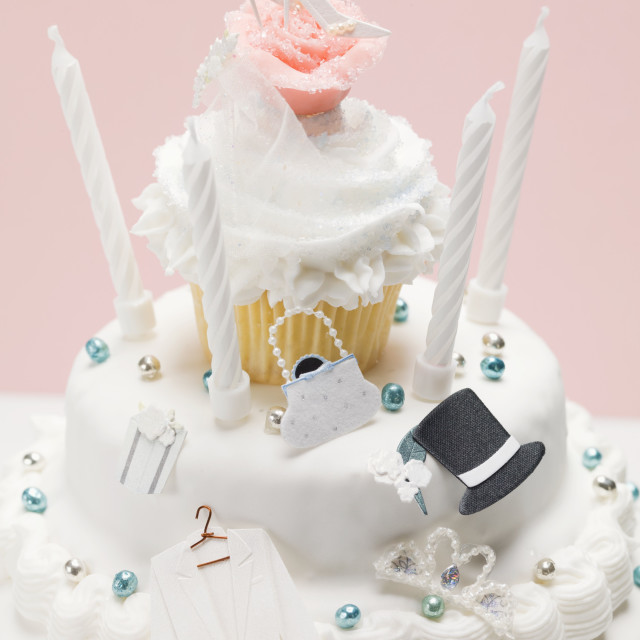 """Three-tiered wedding cake"" stock image"