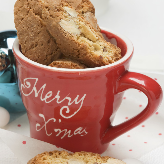 """Cantucci in Christmassy cup"" stock image"