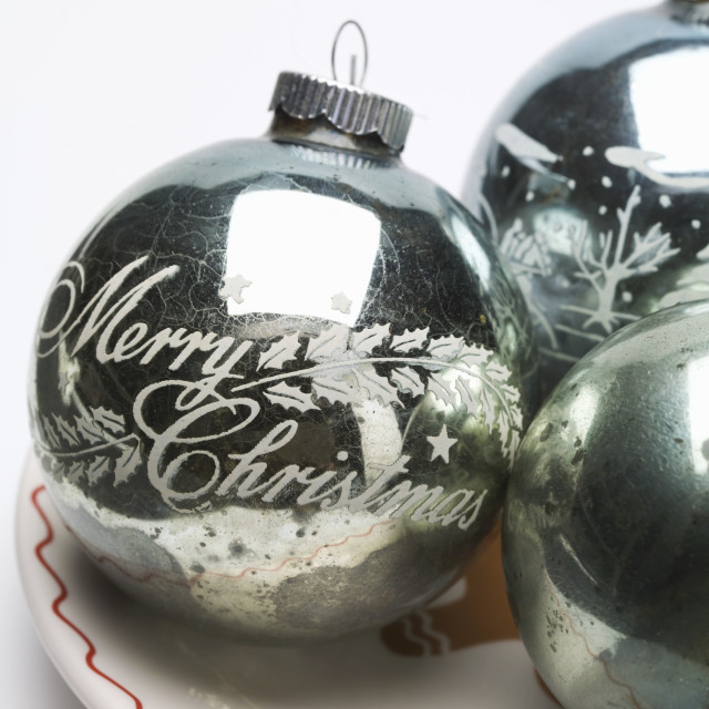 """Antique silver Christmas baubles"" stock image"