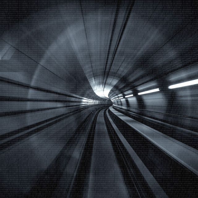 """""""Motion Blur Abstract - in an underground tunnel heading towards a light. Binary Numbers."""" stock image"""
