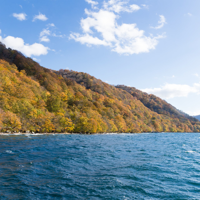 """Lake towada at autumn season"" stock image"
