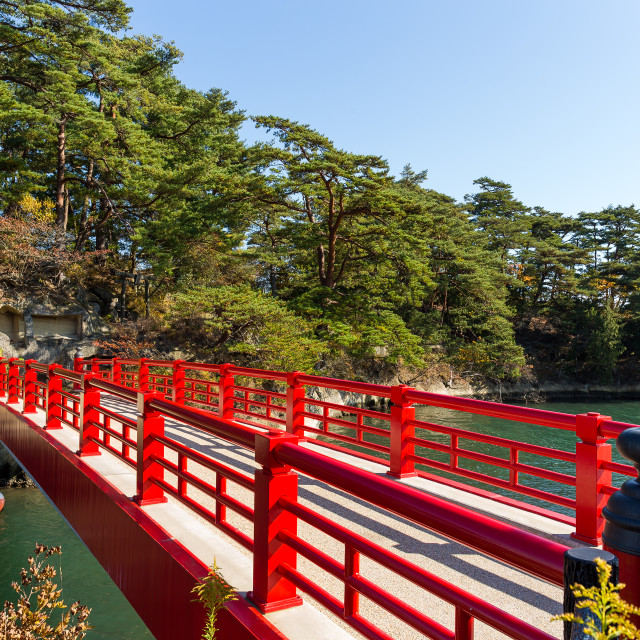 """Japanese Matsushima and red bridge"" stock image"